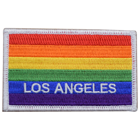 "Los Angeles Patch - Rainbow Flag, California, Pride Badge 3-5/8"" (Iron on)"