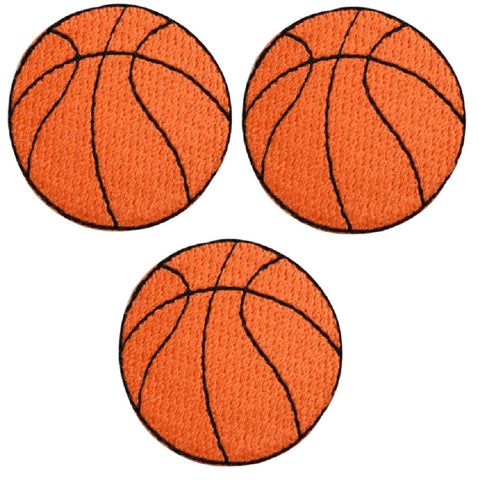 "Basketball Applique Patch - Sports Badge 1.5"" (3-Pack, Iron on)"