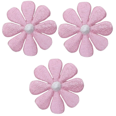 "Daisy Applique Patch - Pink White Flower Badge 1"" (3-Pack, Iron on)"