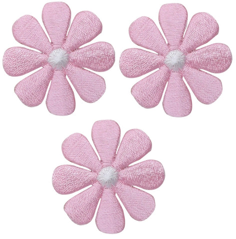 "Daisy Applique Patch - Flower, Pink, White 1.5"" (3-Pack, Iron on)"