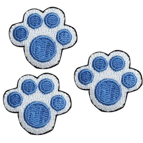 Puppy Paw Print Applique Patch - Blue Footprint from a Dog (3-Pack, Small, Iron on)