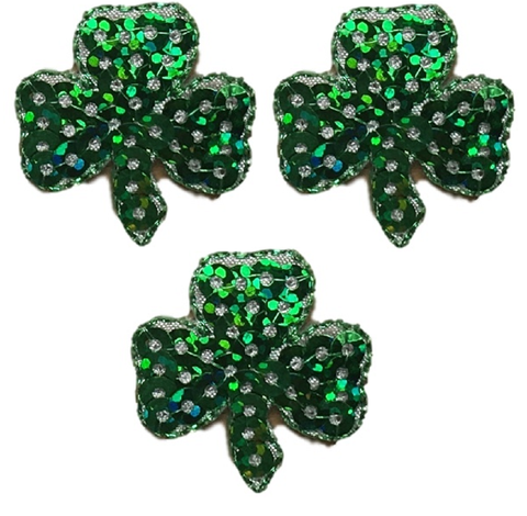 "Shamrock Applique Patch - Sequin, Clover, Good Luck Badge 1"" (3-Pack, Iron on)"