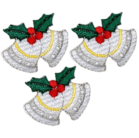 "Christmas Bells Applique Patch - Holly, Berries 3/4"" (3-Pack, Iron on)"