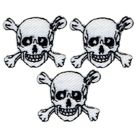 "Mini Skull Crossbones Applique Patch - Skeleton Badge 7/8"" (3-Pack, Iron on)"