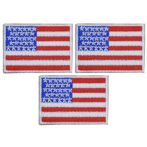 "Mini American Flag Patch - United States USA 1-9/16"" (3-Pack, Iron on)"