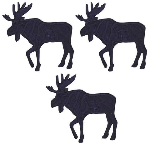 "Black Moose Applique Patch - Facing Left 1.25"" (3-Pack, Iron on)"
