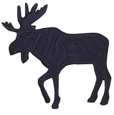 "Moose Applique Patch - Black, Facing Left 2.25"" (Iron on)"