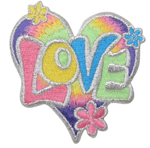"Love Applique Patch - Pastel, Heart, Daisy, Flower Badge 3-1/8"" (Iron on)"