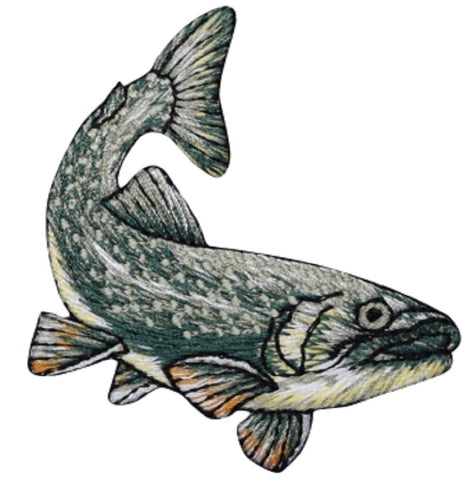 "Fish Applique Patch - Trout, Freshwater Fishing, Fisherman 2-5/8"" (Iron on)"