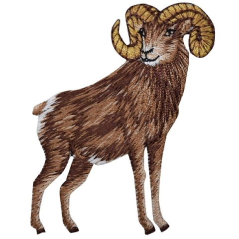 "Ram Applique Patch - Big Horned Sheep, Animal Badge 2.5"" (Iron on)"
