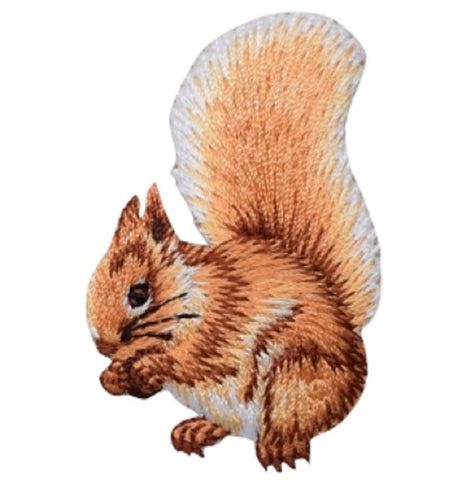 "Squirrel Applique Patch - Animal Badge 2.25"" (Iron on)"
