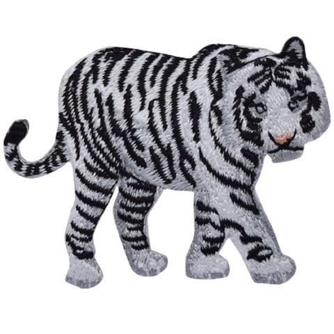 "White Tiger Applique Patch - Bengal, Feline, Kitty, Big Cat 2.5"" (Iron on)"
