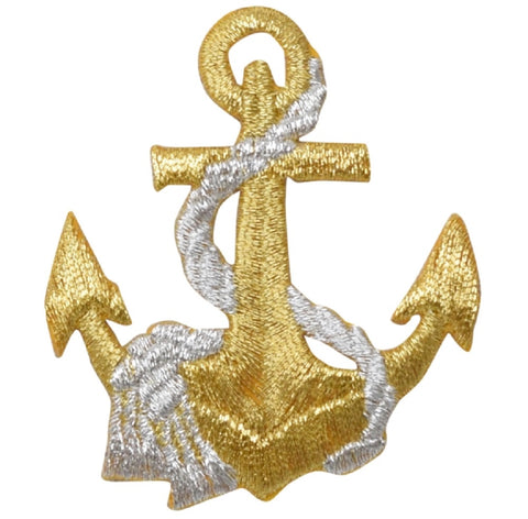 Anchor and Rope Applique Patch - Metallic Gold and Silver (Iron on)