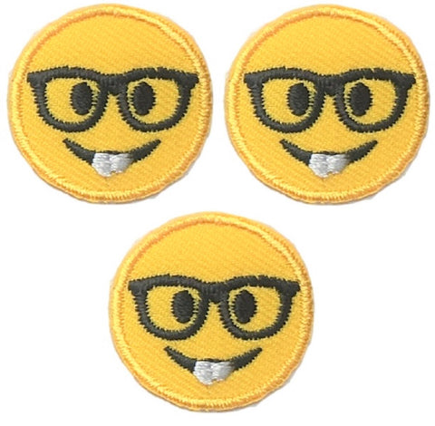 "Nerd Applique Patch - Glasses, Nerd, Geek 1"" (3-Pack, Iron on)"