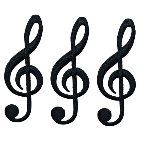 Black G Clef Musical Note Applique Patch (3-Pack, Iron on)