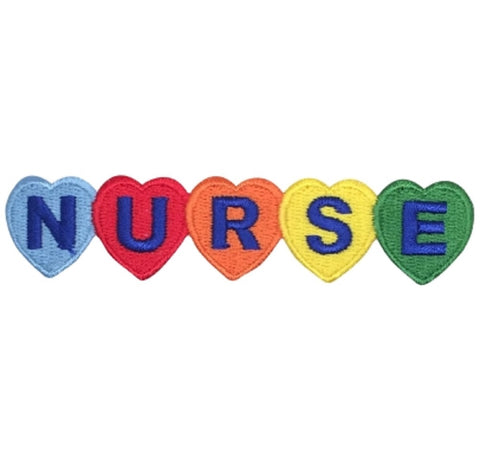 "Nurse Applique Patch - Heart, Love, Rainbow, Medical Badge 4"" (Iron on)"