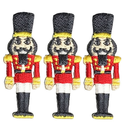 "Nutcracker Applique Patch - Christmas, Holiday Badge 1.5"" (3-Pack, Iron on)"