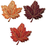 "Autumn Fall Leaf Applique Patch - Orange, Burgundy, Tan/Brown Maple Leaf 2-3/8"" (3-Pack, Iron on)"