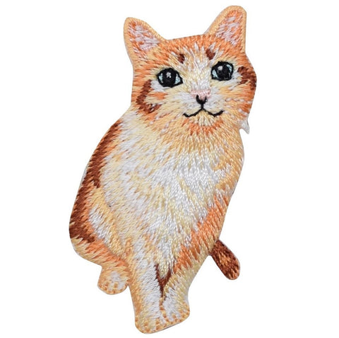 "Kitty Cat Applique Patch - Orange Tabby Kitten 2.25"" (Iron on)"