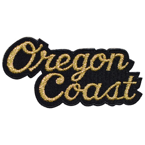 "Vintage Oregon Coast Patch - Black, Gold OR Badge 4-3/8"" (Sew on)"