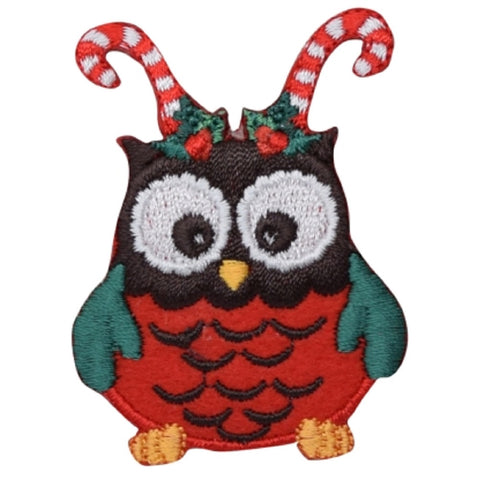"Christmas Owl Applique Patch - Candy Cane Antlers 2-3/8"" (Iron on)"