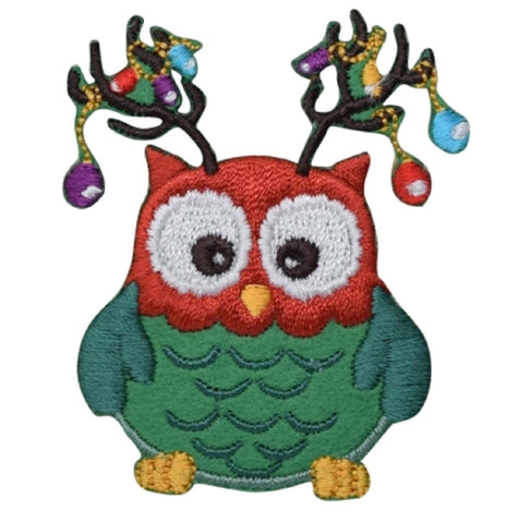 "Christmas Owl Applique Patch - Antlers, Ornaments 2-3/8"" (Iron on)"