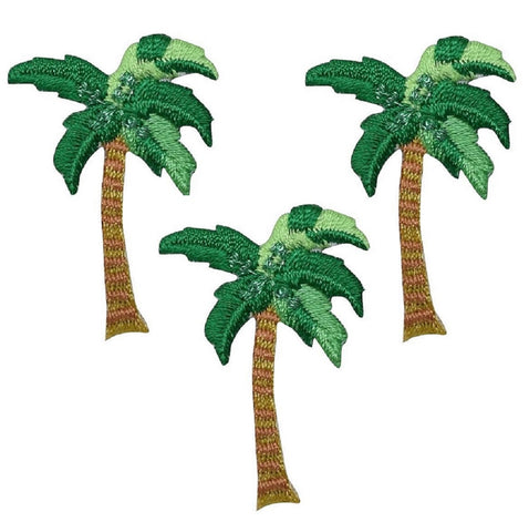 "Palm Tree Applique Patch - Tropical Island Badge 1.5"" (3-Pack, Iron on)"