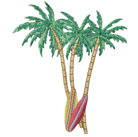 "Palm Trees Surf Boards Applique Patch - Beach, Ocean Badge 3.75"" (Iron on)"