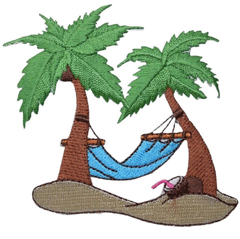 "Palm Tree Applique Patch - Hammock, Tropical Island Badge 3.25"" (Iron on)"