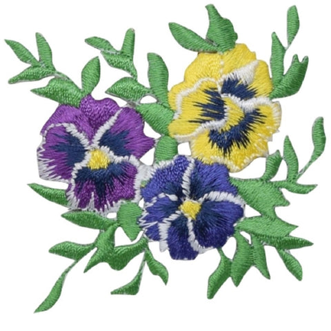 "Pansy Applique Patch - Flower, Bloom, Pansies Badge 2.5"" (Iron on)"
