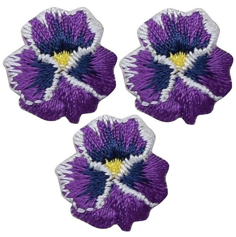 "Mini Pansy Applique Patch - Flower, Bloom, Violet .75"" (3-Pack, Iron on)"