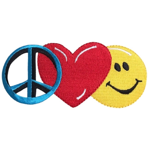 "Peace Love Happiness Applique Patch - Heart, Happy Face, Smiley 4.75"" (Iron on)"