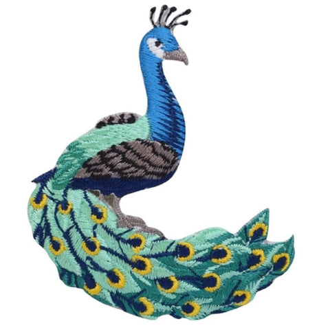 "Peacock Applique Patch - Peafowl, Animal, Bird Badge 3"" (Iron on)"