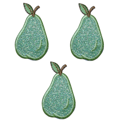 "Pear Applique Patch - Sparkly Fruit Badge 1.5"" (Clearance, 3-Pack, Iron on)"