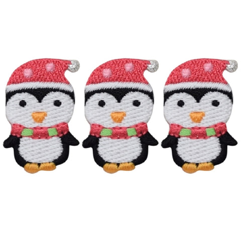 "Christmas Penguin Applique Patch - Winter Bird Badge 1.25"" (3-Pack, Iron on)"