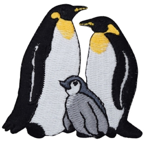 "Penguins Applique Patch - Water Bird, Chick, King Penguin Badge 2.5"" (Iron on)"