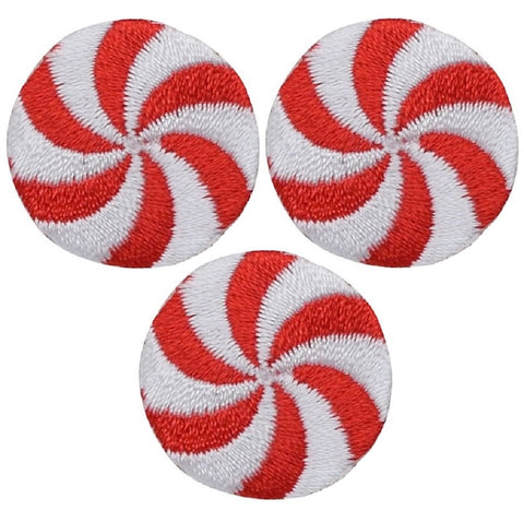 "Mini Peppermint Candy Applique Patch - Christmas Badge 1"" (3-Pack, Iron on)"