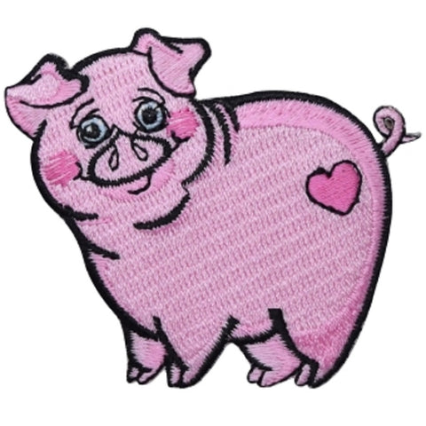 "Pig Applique Patch - Pink, Heart, Love, Animal Badge 2-5/8"" (Iron on)"
