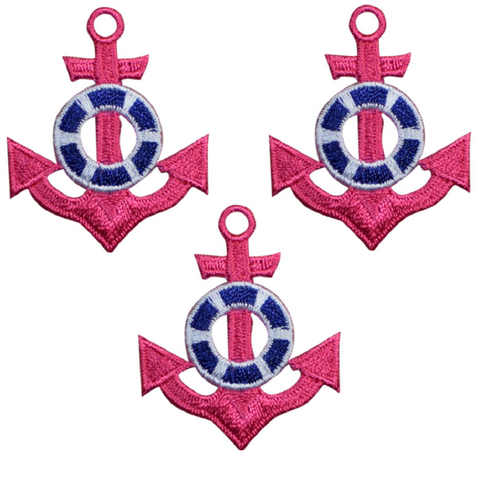 "Anchor Applique Patch - Pink Nautical Badge 1.75"" (3-Pack, Iron on)"