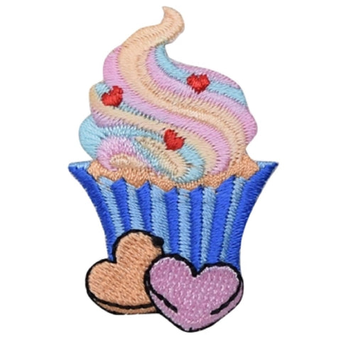 "Cupcake Applique Patch - Frosting, Sprinkles, Heart Candies 2"" (Iron on)"