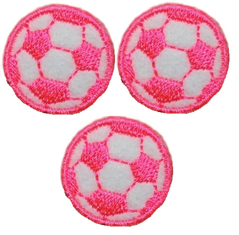 "Neon Pink Soccer Ball Futbol Applique Patch - 7/8"", Mini (3-Pack, Iron on)"