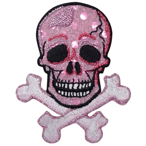 "Skull Crossbones Applique Patch - Shimmery Pink Skelton Badge 2.75"" (Iron on)"