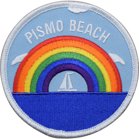 "Pismo Beach Patch - California, Rainbow, Sailboat, Sailing Badge 3"" (Iron on)"
