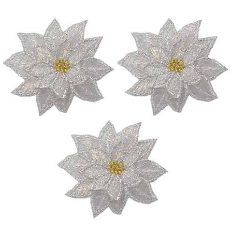 "White Poinsettia Applique Patch - Christmas Flower Bloom 1.75"" (3-Pack, Iron on)"