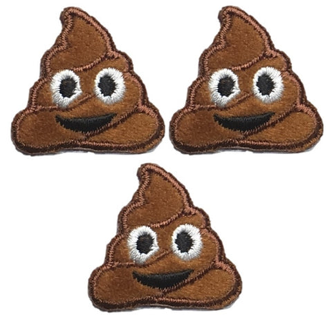"Poo Applique Patch - Poo, Smiling Poop Badge 1-1/8"" (3-Pack, Iron on)"