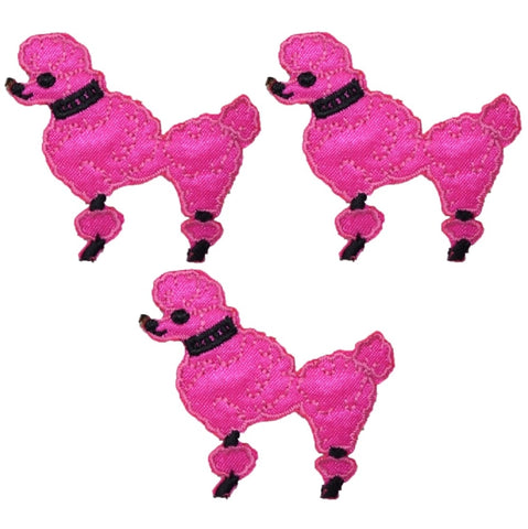 Poodle Dog Applique Patch - Facing Left, Hot Pink (3-Pack, Small, Iron on)