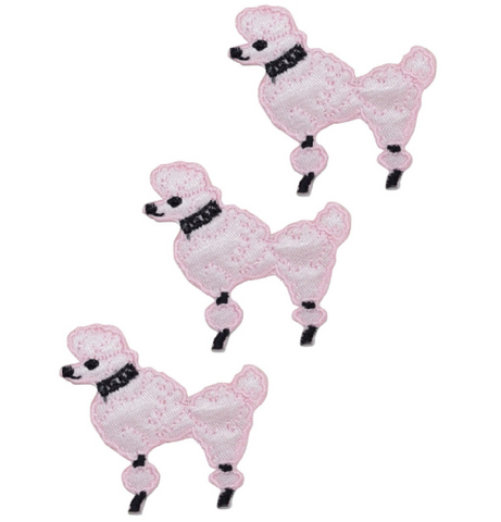 Poodle Dog Applique Patch - Facing Left, Pink (3-Pack, Small, Iron on)