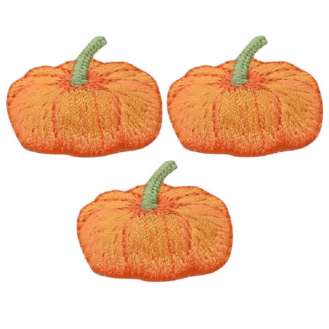 Pumpkin Applique Patch - Halloween, Thanksgiving, Gourd, Squash (3-Pack, Small, Iron on)