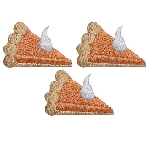 "Mini Pumpkin Pie Applique Patch - Food, Thanksgiving 1-1/8"" (3-Pack, Iron on)"