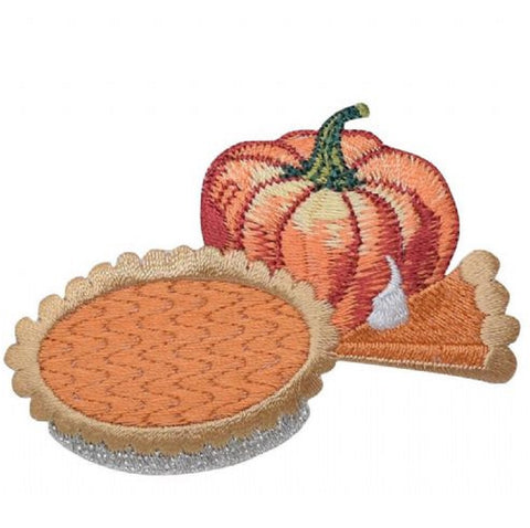 "Pumpkin Pie Applique Patch - Food, Thanksgiving Badge 2.75"" (Iron on)"